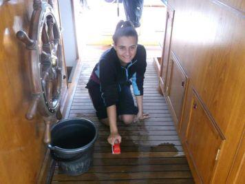 Lianne, Scrubbing the poop deck