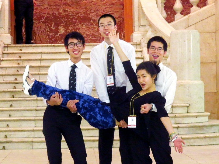 The New Zealand at Moscow State University. From left to right: Frank Zhou (Macleans College), Scott Huang (Rangitoto College), Cindy Ou (Mt Roskill Grammar) and Keniel Yao (Macleans College)